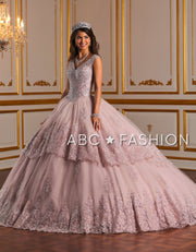 Metallic Lace V-Neck Quinceanera Dress by House of Wu 26927