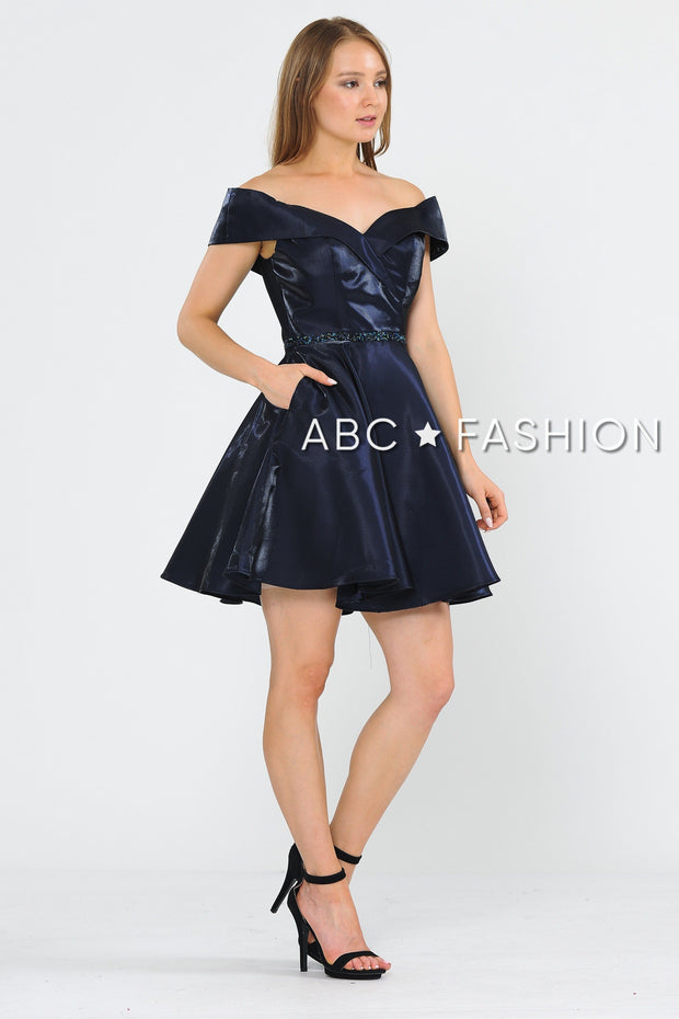 Metallic Short Off the Shoulder Dress by Poly USA 8238-Short Cocktail Dresses-ABC Fashion