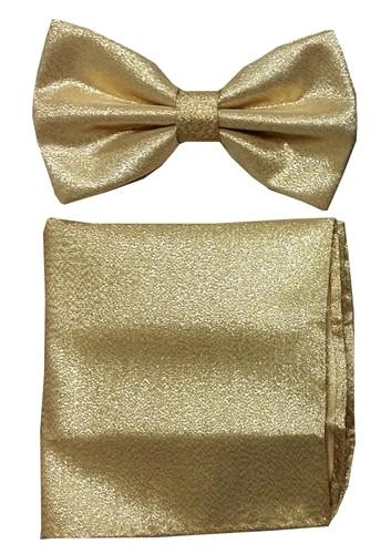 Metallic Silver Bow Tie with Pocket Square (Pointed Tip)-Men's Bow Ties-ABC Fashion