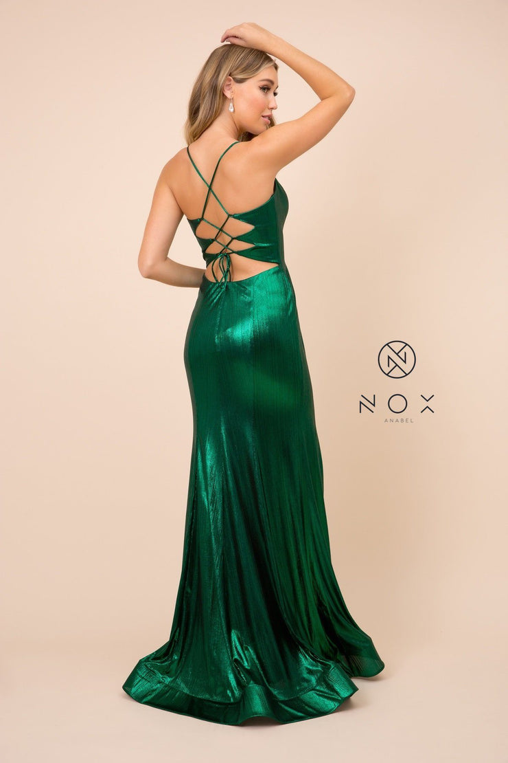 Metallic Spandex Gown with Front Lace-Up by Nox Anabel M413