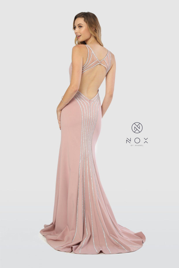 Metallic Striped Gown with Illusion Open Back Cutout by Nox Anabel T253-Long Formal Dresses-ABC Fashion