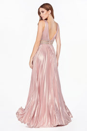 Metallic V-Neck Gown with Sheer Waist by Cinderella Divine CJ537-Long Formal Dresses-ABC Fashion