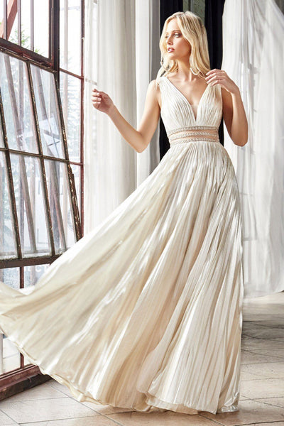 Metallic V-Neck Gown with Sheer Waist by Cinderella Divine CJ537