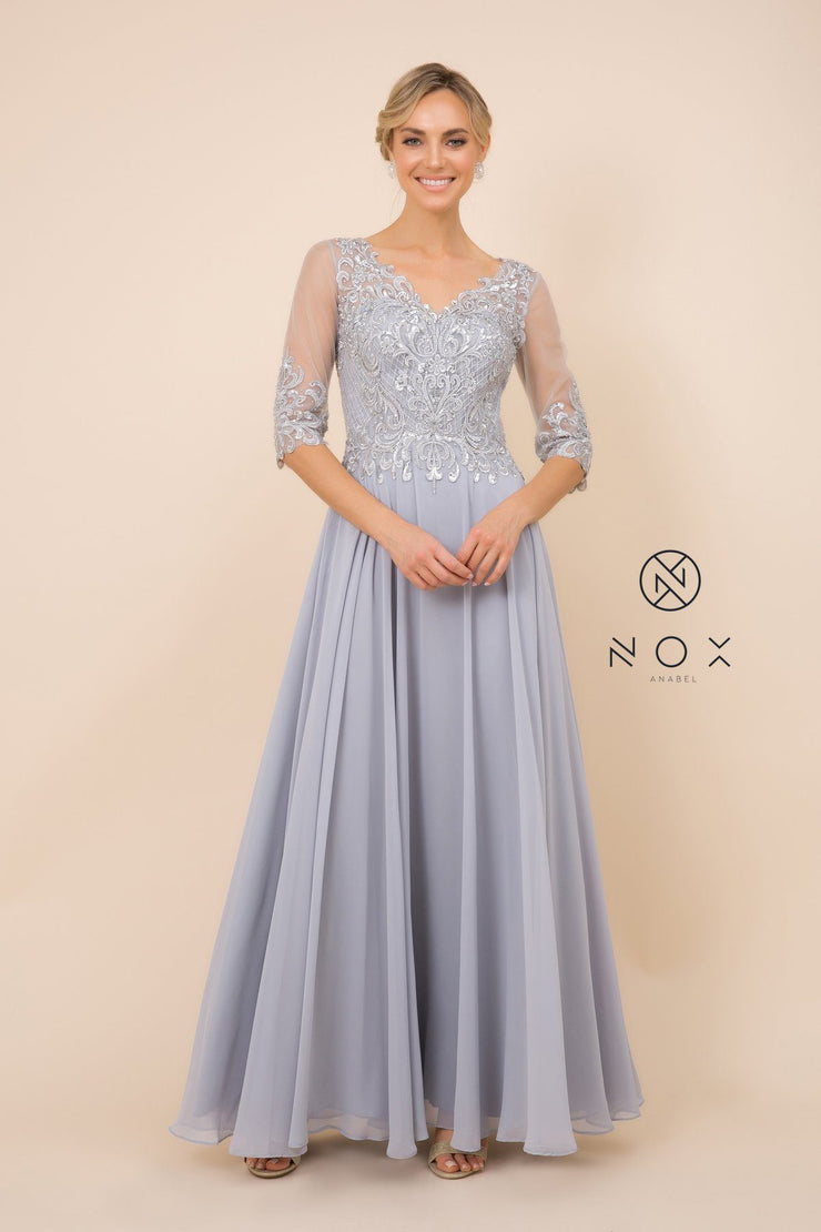 Mid-Sleeve Gown with Applique Bodice by Nox Anabel Y533