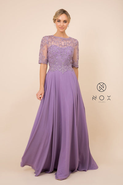 Mid-Sleeve Gown with Embellished Bodice by Nox Anabel Y538