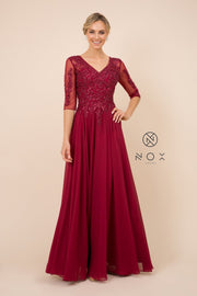 Mid-Sleeve Gown with Sequin Bodice by Nox Anabel H537