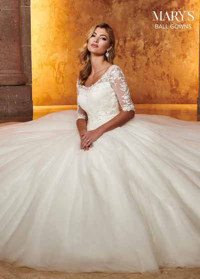 Mid-Sleeve Lace Applique Wedding Dress by Mary's Bridal MB6051-Wedding Dresses-ABC Fashion