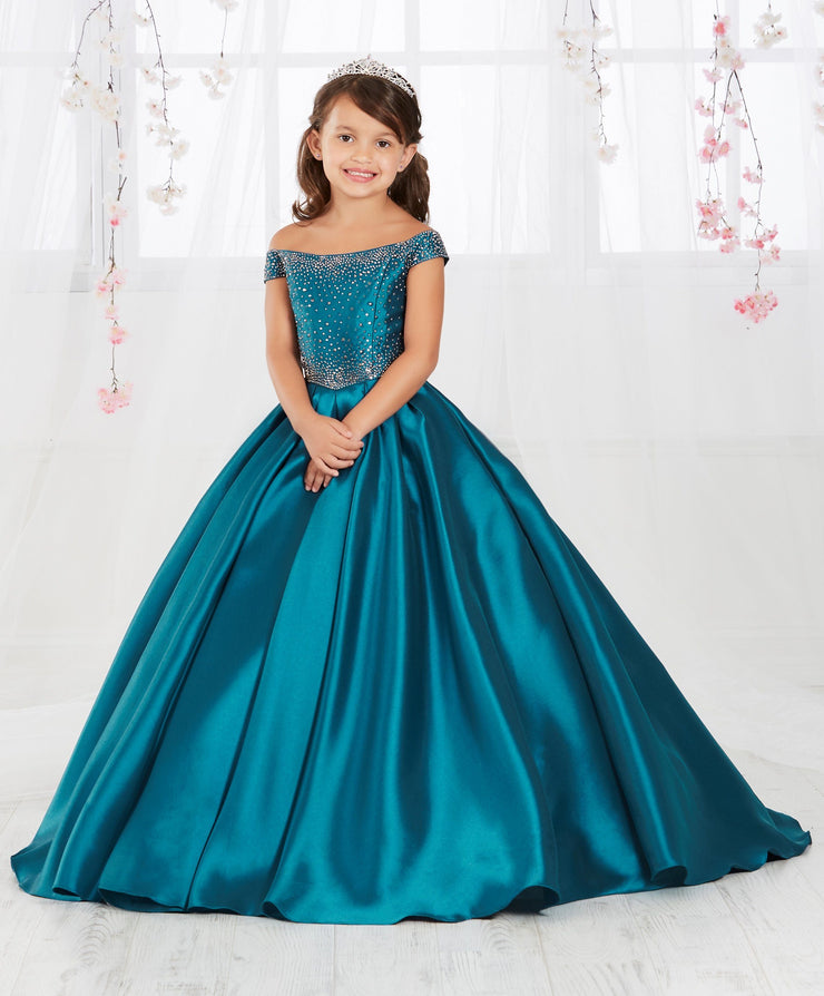 Mikado Girls Long Off the Shoulder Dress by Tiffany Princess 13554-Girls Formal Dresses-ABC Fashion