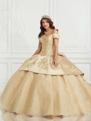 Mikado Off Shoulder Quinceanera Dress by LA Glitter 24072