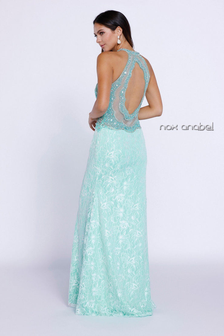 Mint Green Beaded Lace Halter Illusion Dress by Nox Anabel 8215-Long Formal Dresses-ABC Fashion