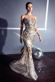 Mirror Beaded Mermaid Dress by Cinderella Divine CR858