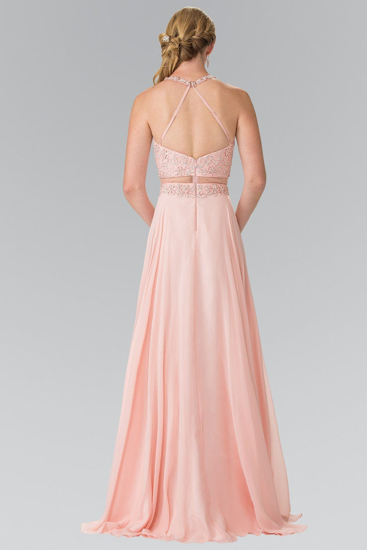Mock Two-Piece Dress with Beaded Illusion Top by Elizabeth K GL2347-Long Formal Dresses-ABC Fashion