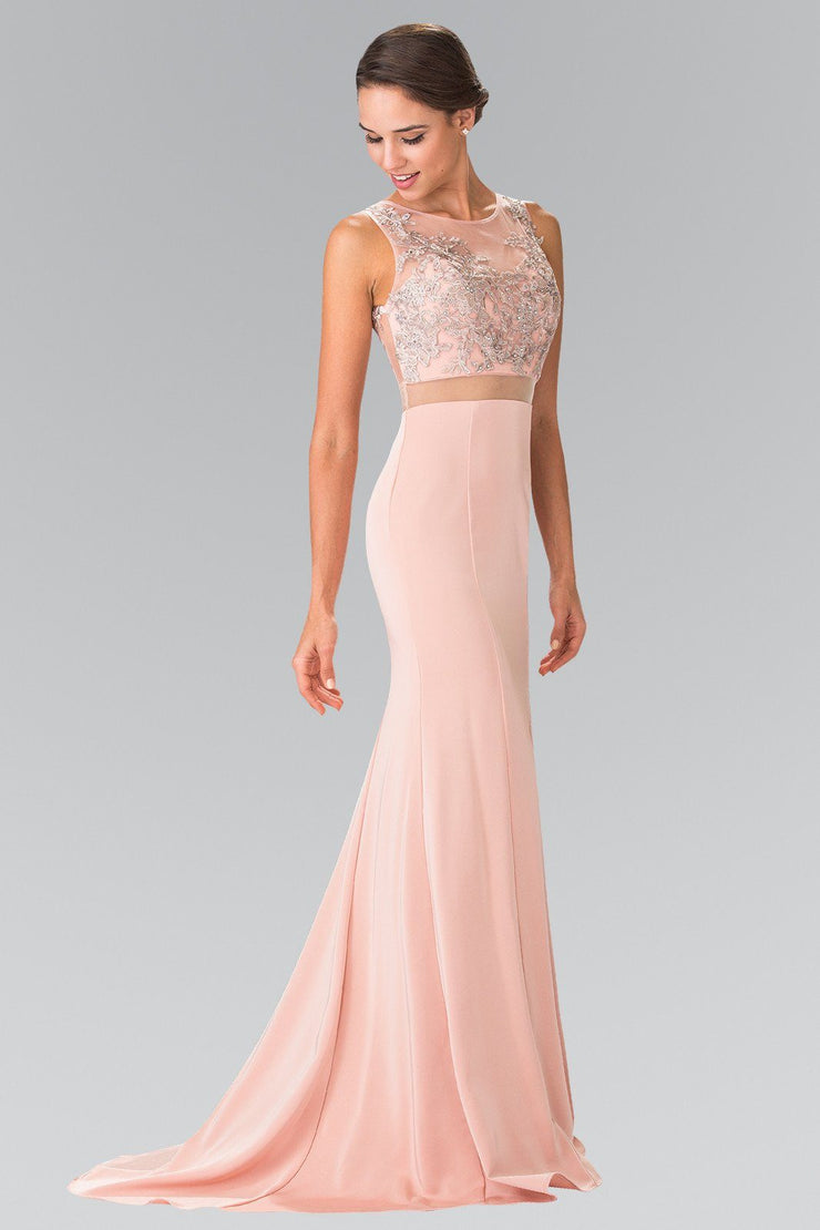 Mock Two-Piece Dress with Embroidered Illusion Top by Elizabeth K GL2247-Long Formal Dresses-ABC Fashion