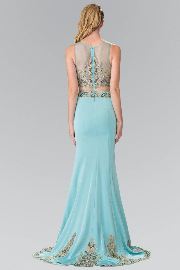 Mock Two-Piece Embroidered Illusion Dress by Elizabeth K GL2248-Long Formal Dresses-ABC Fashion