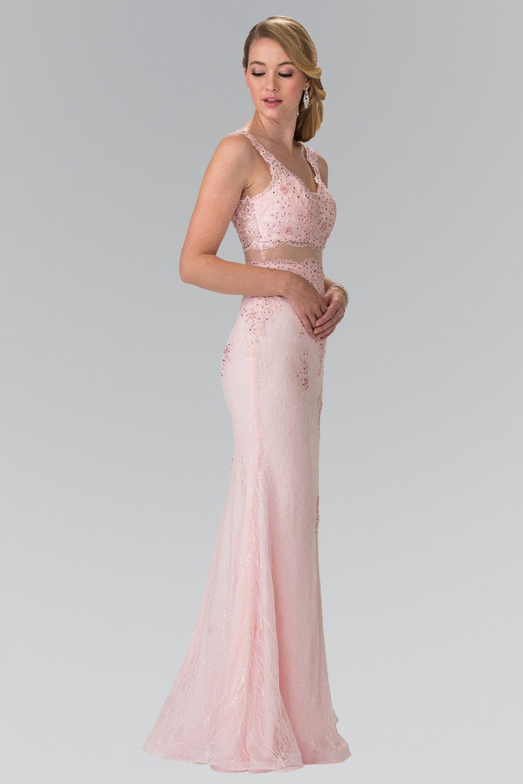 Mock Two-Piece Embroidered Lace Dress by Elizabeth K GL2240-Long Formal Dresses-ABC Fashion