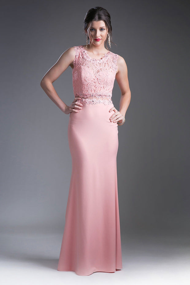 Mock Two-Piece Gown with Lace Top by Cinderella Divine CF115-Long Formal Dresses-ABC Fashion