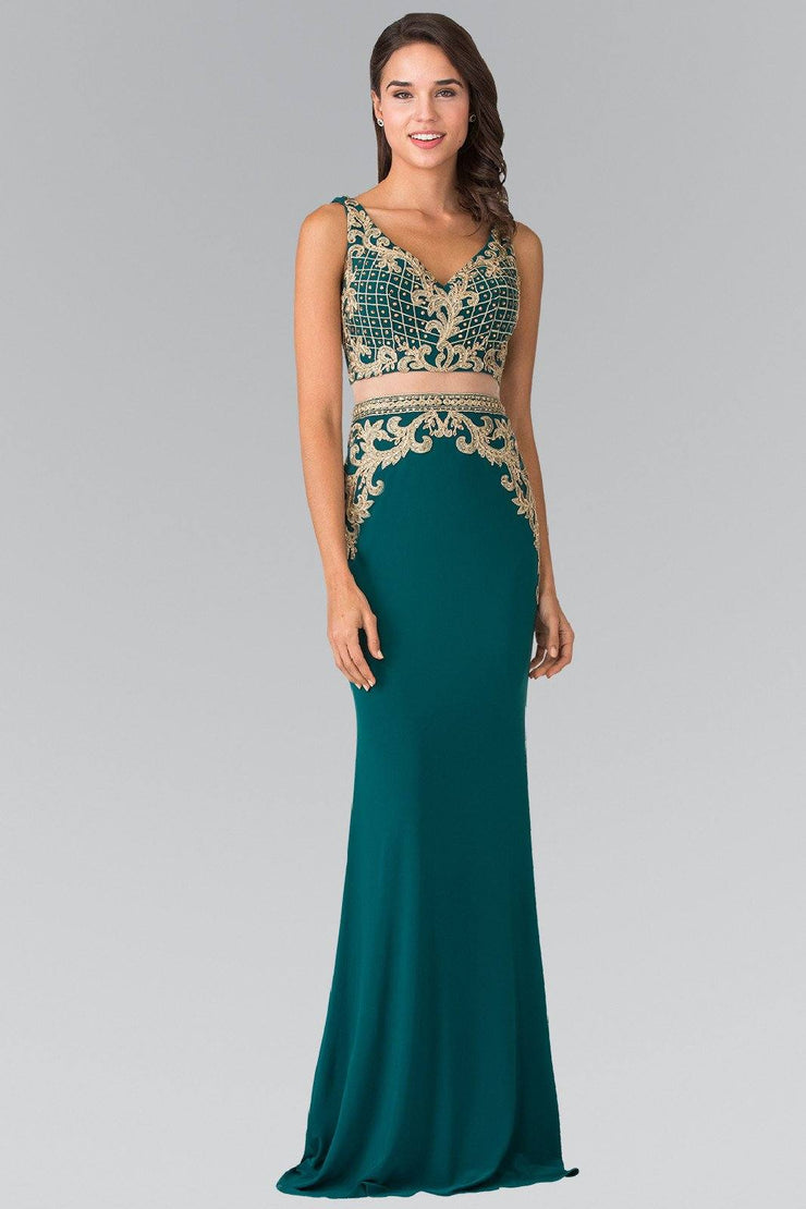 Mock Two-Piece V-Neck Embroidered Dress by Elizabeth K GL2334-Long Formal Dresses-ABC Fashion