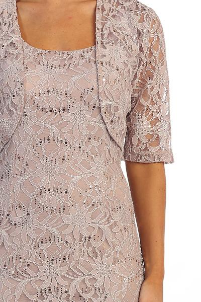 Modest Short Lace Dress with Matching Jacket by Celavie 2462-S-Short Cocktail Dresses-ABC Fashion