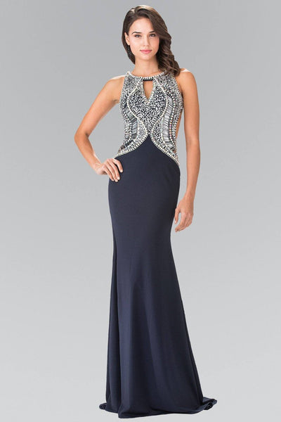 Navy Blue Open Back Dress with Jeweled Bodice by Elizabeth K GL1473-Long Formal Dresses-ABC Fashion