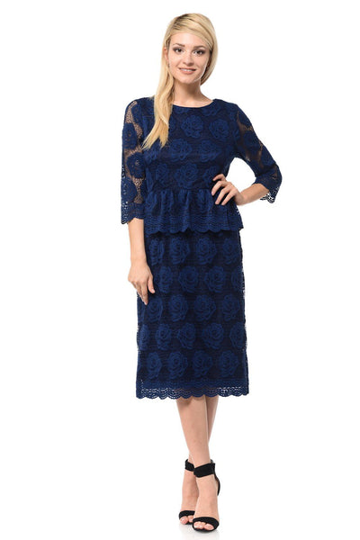 Navy Blue Short Floral Lace Dress with Sleeves by Lenovia-Short Cocktail Dresses-ABC Fashion