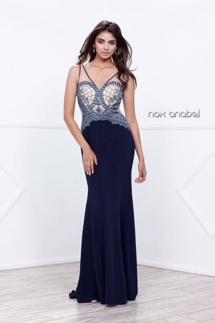Navy Blue Sleeveless Beaded Illusion Dress by Nox Anabel 8264-Long Formal Dresses-ABC Fashion