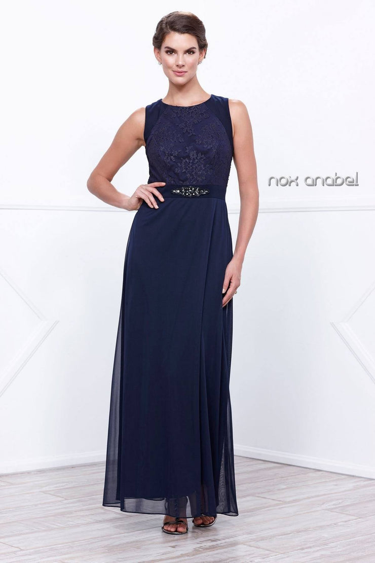 Navy Blue Sleeveless Lace Top Dress by Nox Anabel 5125-Long Formal Dresses-ABC Fashion