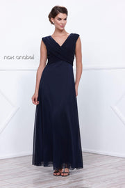 Navy Blue Sleeveless Ruched Bodice Dress by Nox Anabel 5120-Long Formal Dresses-ABC Fashion