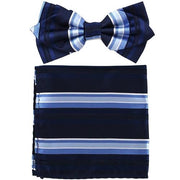Navy Blue Striped Bow Tie with Pocket Square (Pointed Tip)-Men's Bow Ties-ABC Fashion