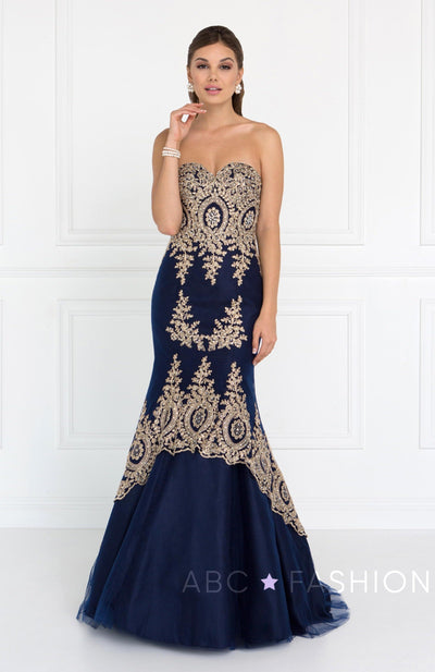 Navy Long Strapless Flared Trumpet Dress by Elizabeth K GL2428-Long Formal Dresses-ABC Fashion