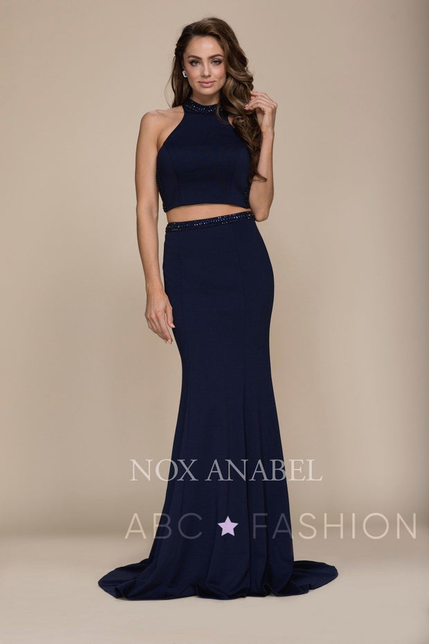 Navy Long Two-Piece Dress with Strappy Back by Nox Anabel A047-Long Formal Dresses-ABC Fashion