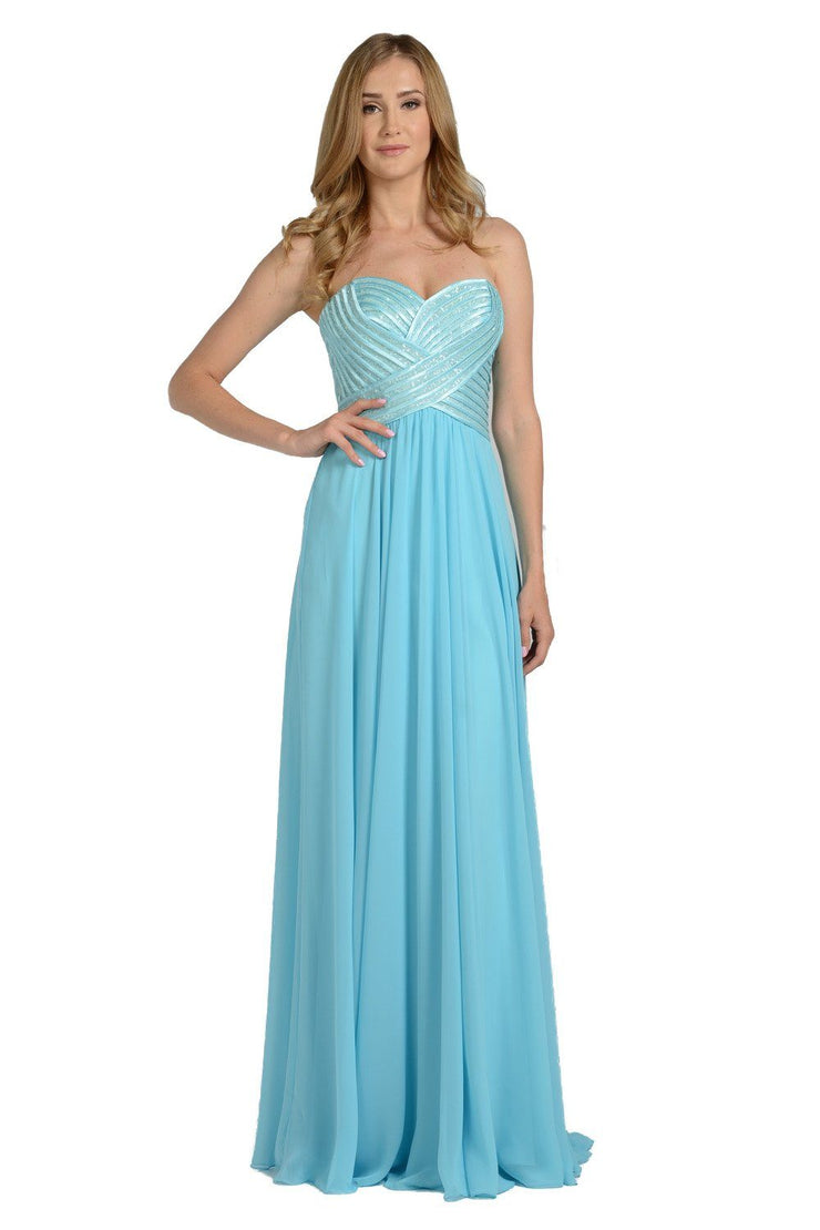 Navy Strapless Sweetheart Gown with Sequined Top by Poly USA-Long Formal Dresses-ABC Fashion