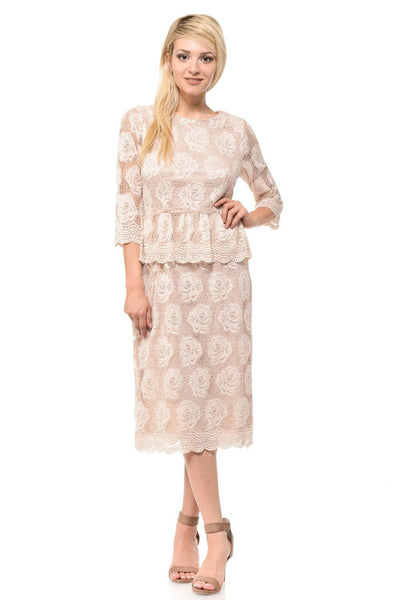 Nude Short Floral Lace Dress with Sleeves by Lenovia-Short Cocktail Dresses-ABC Fashion