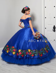 Off Shoulder Floral Charro Quinceanera Dress by LA Glitter 24061-Quinceanera Dresses-ABC Fashion