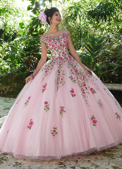 Off Shoulder Floral Quinceanera Dress by Mori Lee Valentina 34012-Quinceanera Dresses-ABC Fashion