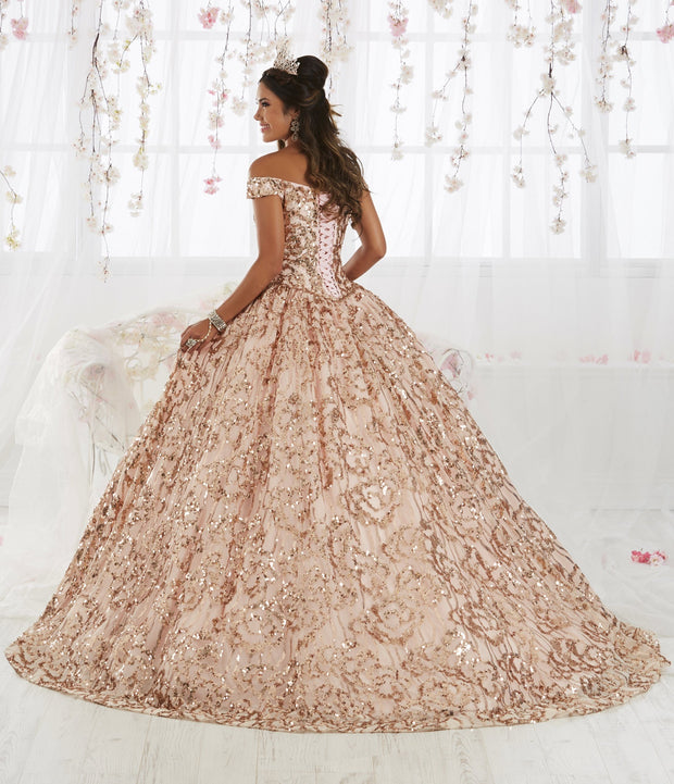 Off Shoulder Floral Sequin Quinceanera Dress by House of Wu 26919-Quinceanera Dresses-ABC Fashion