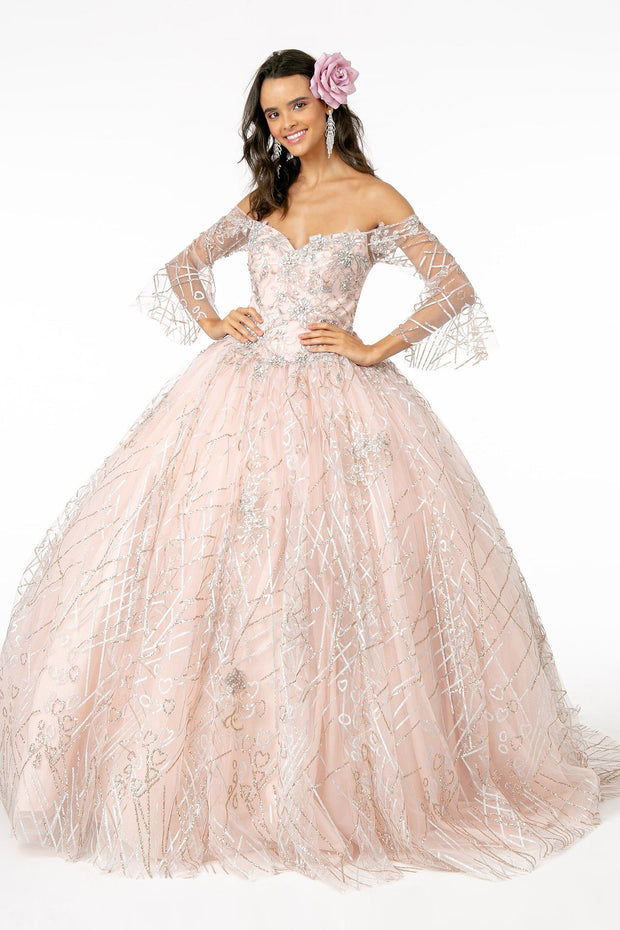 Off Shoulder Glitter Ball Gown with Bell Sleeves by Elizabeth K GL2911-Quinceanera Dresses-ABC Fashion