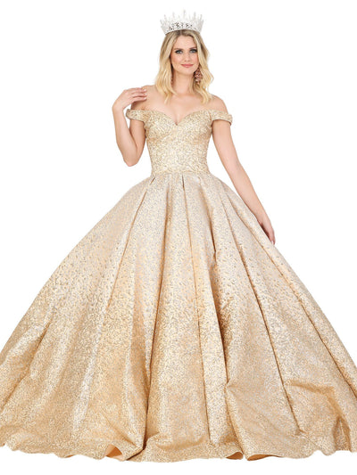 Off Shoulder Glitter Embellished Ball Gown by Dancing Queen 1413