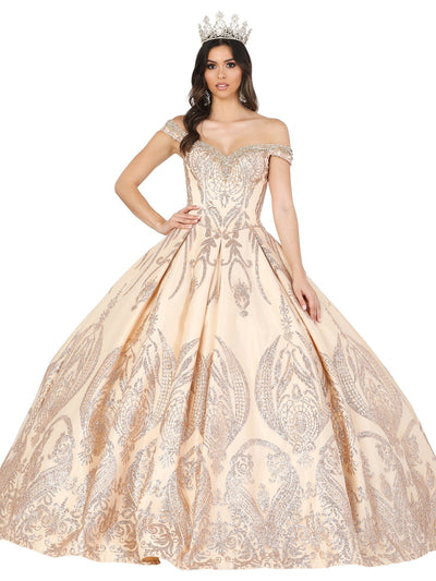 Off Shoulder Glitter Print Ball Gown by Dancing Queen 1502