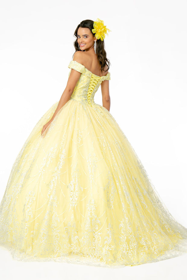 Off Shoulder Glitter Print Ball Gown by Elizabeth K GL2910-Quinceanera Dresses-ABC Fashion
