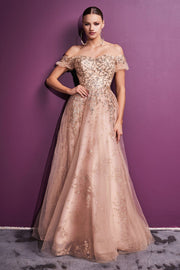 Off Shoulder Glitter Print Gown by Cinderella Divine C73