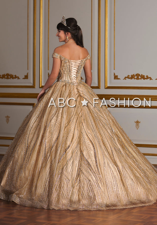 Off Shoulder Glitter Quinceanera Dress by House of Wu 26937-Quinceanera Dresses-ABC Fashion
