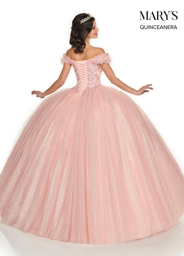 Off Shoulder Glitter Quinceanera Dress by Mary's Bridal MQ2082-Quinceanera Dresses-ABC Fashion