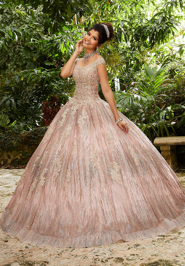 Off Shoulder Glitter Quinceanera Dress by Mori Lee Vizcaya 89243