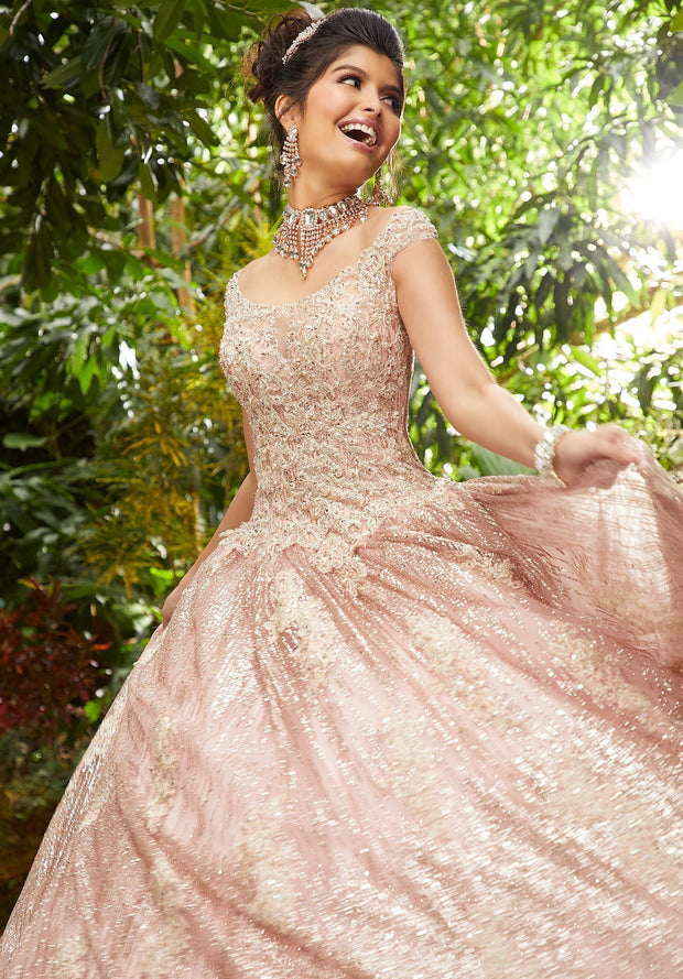 Off Shoulder Glitter Quinceanera Dress by Mori Lee Vizcaya 89243-Quinceanera Dresses-ABC Fashion