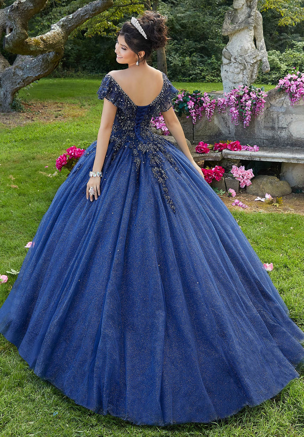 Off Shoulder Glitter Quinceanera Dress by Mori Lee Vizcaya 89276-Quinceanera Dresses-ABC Fashion