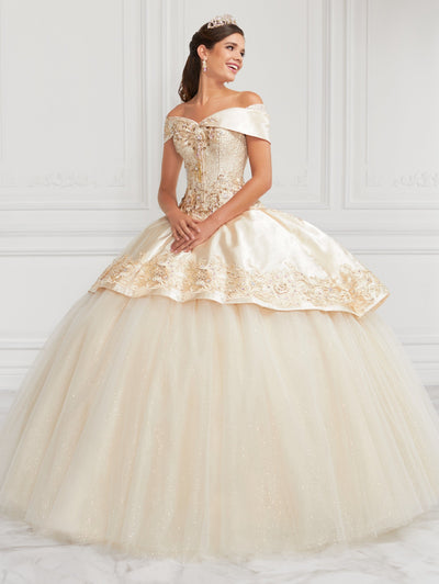 Off Shoulder Glitter Tulle Quinceanera Dress by LA Glitter 24069-Quinceanera Dresses-ABC Fashion