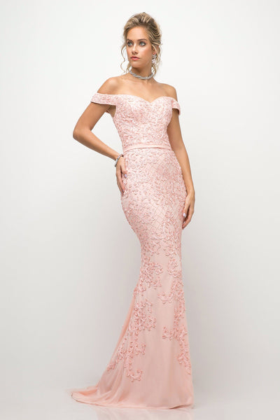 Off Shoulder Gown with Lace Appliques by Cinderella Divine UK012-Long Formal Dresses-ABC Fashion