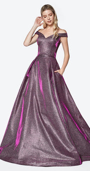 Off Shoulder Iridescent Glitter Dress by Cinderella Divine CB0036-Long Formal Dresses-ABC Fashion