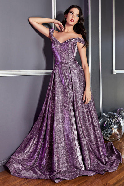 Off Shoulder Iridescent Glitter Dress by Cinderella Divine CB0036