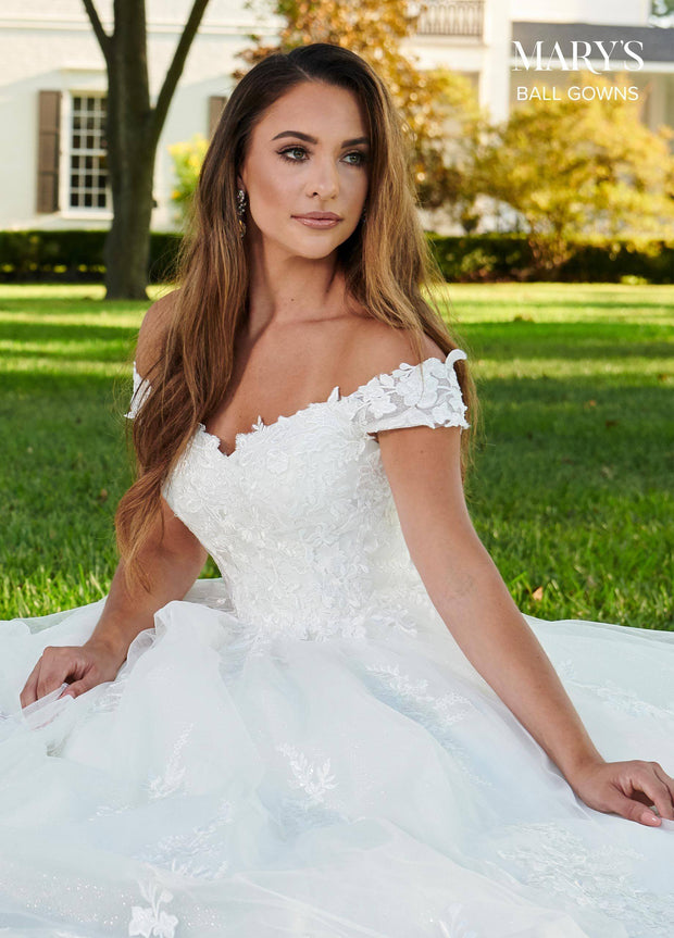 Off Shoulder Lace Applique Wedding Dress by Mary's Bridal MB6064-Wedding Dresses-ABC Fashion